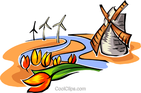 480x318 Dutch Tulips And Windmill Symbol Royalty Free Vector Clip Art