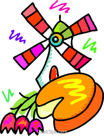 365x480 Dutch Windmill With Cheese And Flowers Royalty Free Vector Clip