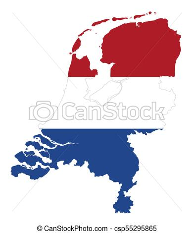 392x470 Flag In The Outline Of The Netherlands. Flag In Red, White Clip