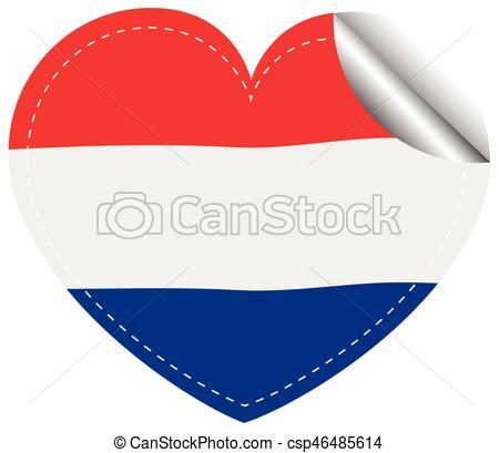 450x409 Netherlands Flag In Heart Shape Illustration Vector Clip Art