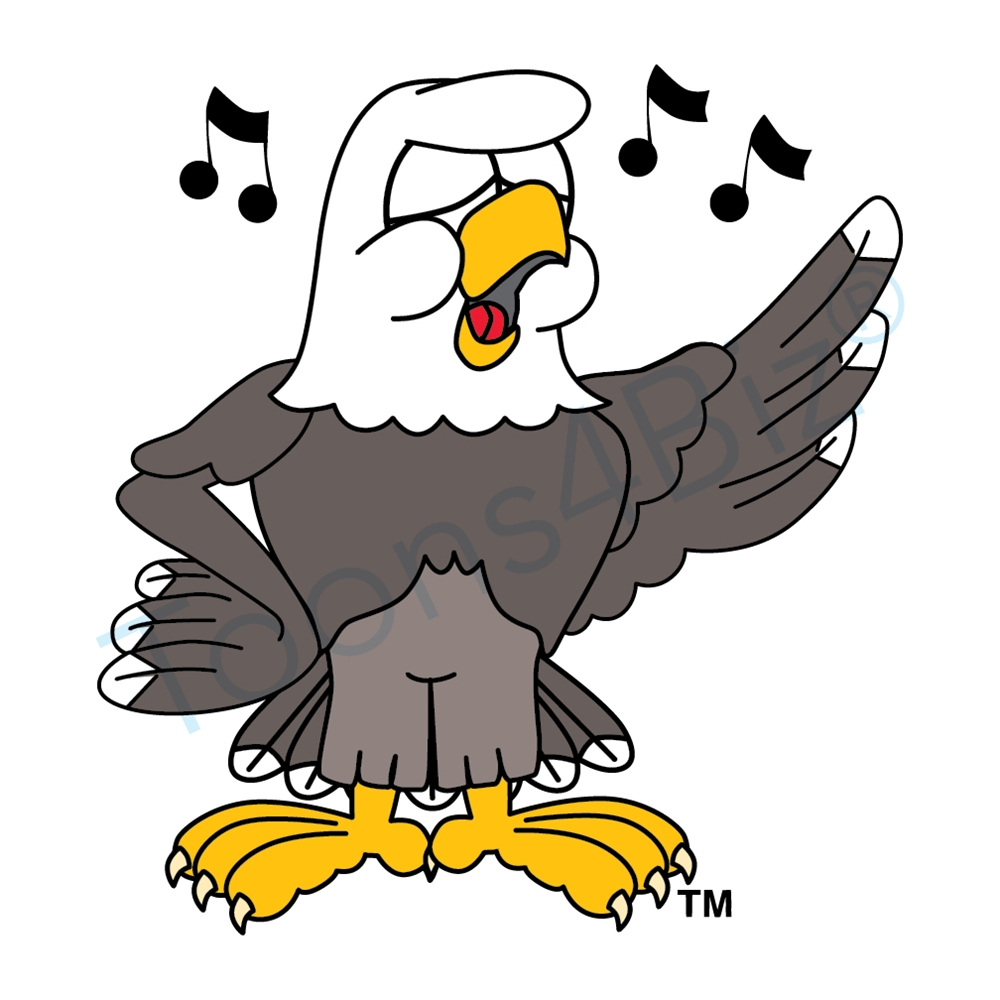 1000x1000 Bald Eagle Mascot Singing Clip Art