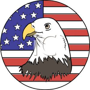 300x299 Clip Art Image The American Flag And A Bald Eagle