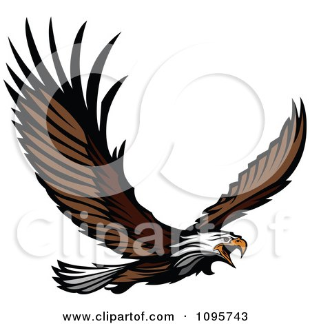 450x470 Clipart Flying Bald Eagle Mascot With Extended Talons