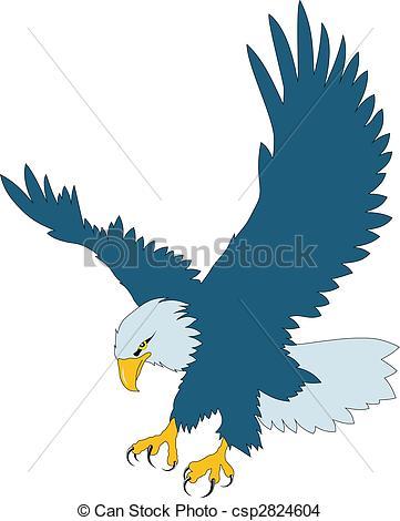 361x470 Color Vector Illustration Of Flying Eagle Eps Vector