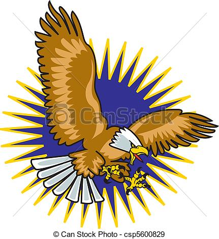 431x470 Eagle Mascot With Wings Spread Flying Through The Air With Eps