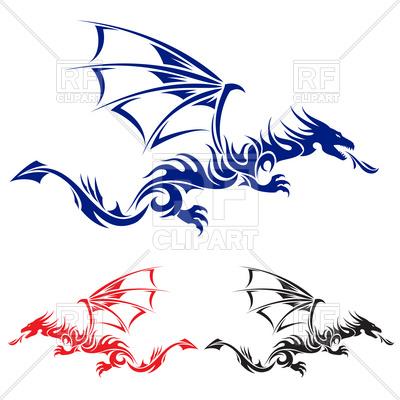 400x400 Flying Dragon Tattoo Royalty Free Vector Clip Art Image
