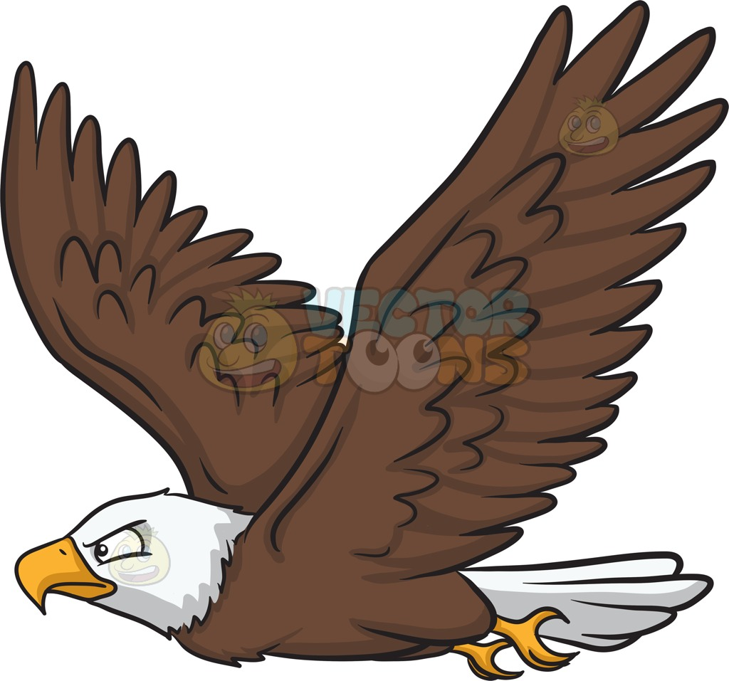 1024x957 A Flying Bald Eagle Cartoon Clipart Vector Toons