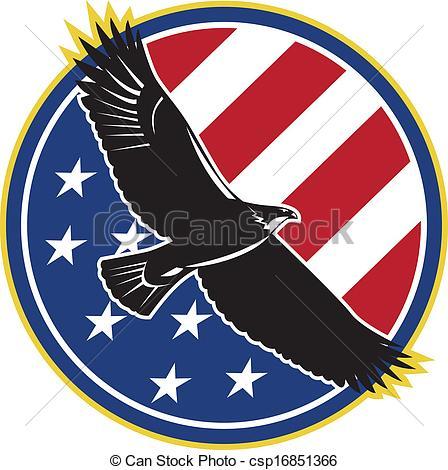 448x470 American Eagle Flying Usa Flag Retro. Illustration Of A Bald