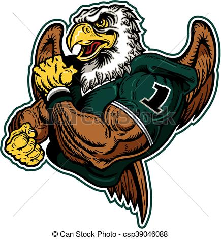 435x470 Muscular Eagle Football Player Team Design For School, Vector