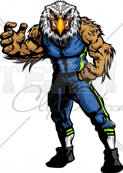 421x590 Seahawk Football Character Vector Image