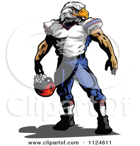 450x470 Clipart Of A Muscular Bald Eagle Headed Football Player
