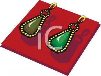350x264 Picture Of A Pair Of Gold Earrings With A Green Stone In A Vector