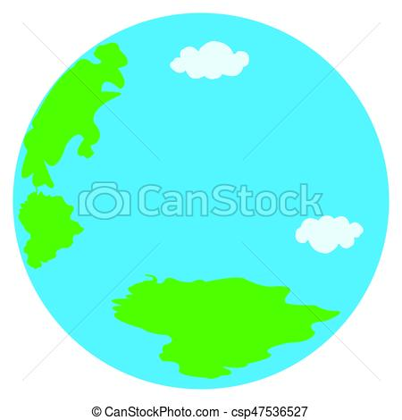 450x470 Round Earth. Vector Planet Icon. Web Illustration Vector