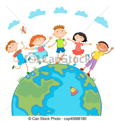 450x470 Globe Kids. Children Earth Day. Vector. Globe Kids On Globe
