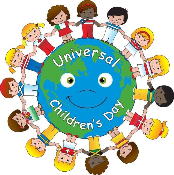 675x677 Universal Children's Day Kids Around Earth Globe Illustration