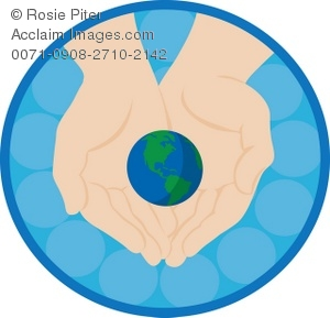 300x289 Clip Art Illustration Of Hands Holding The Earth