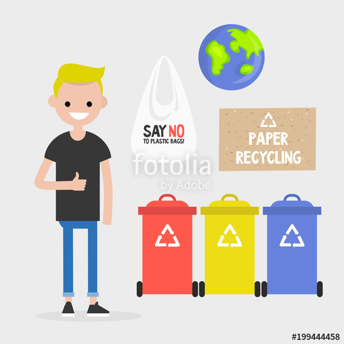 500x500 Ecology. Waste Recycling. Paper, Plastic And Glass. Earth Day