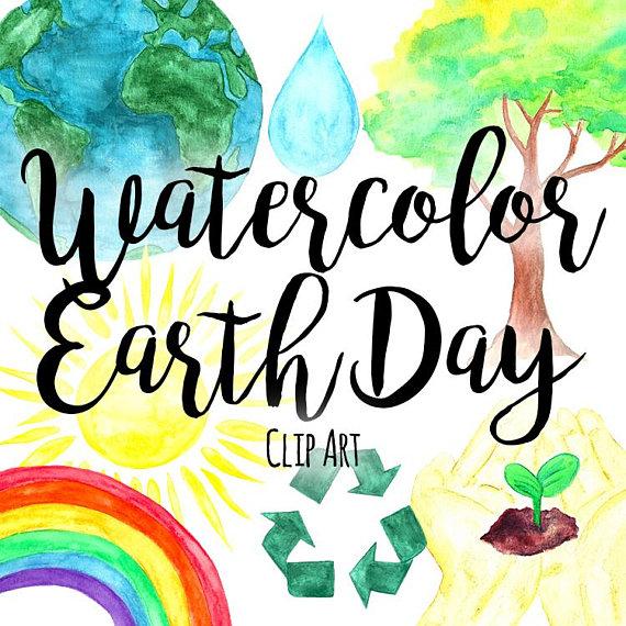 570x570 Watercolor Earth Day Clipart, Environmental Clip Art, Rainbow Clip