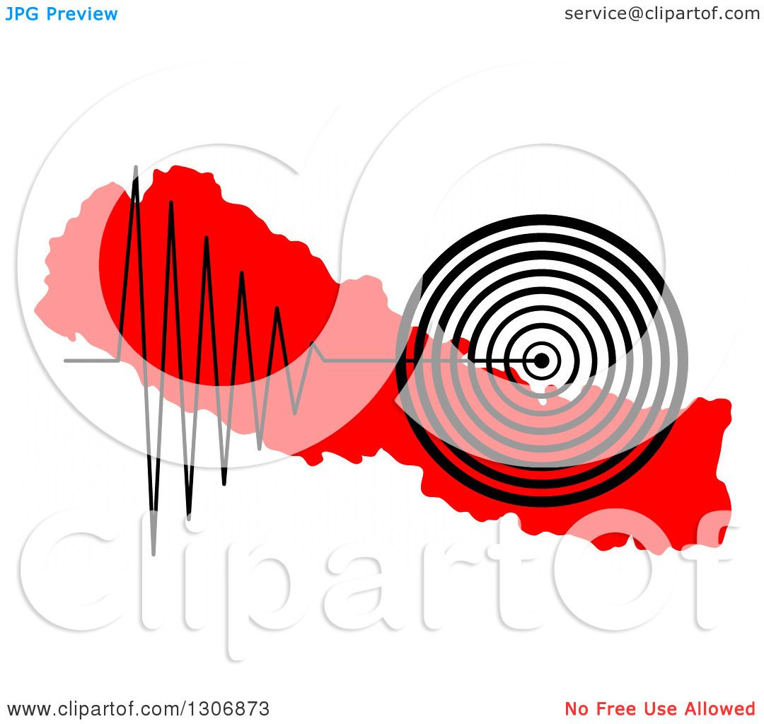 1080x1024 Clipart Of A Black Earthquake Tremor Graph Over A Red Map Of Nepal
