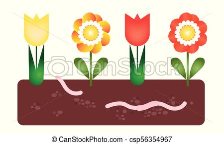 450x290 Flower Bed With Soil And Earthworm Under The Ground Clip Art