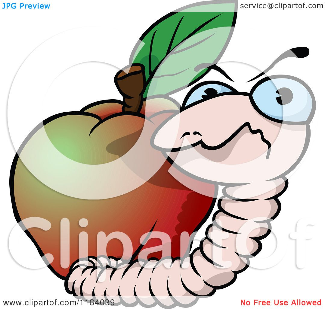 1080x1024 Cartoon Of A Mad Earth Worm And Apple