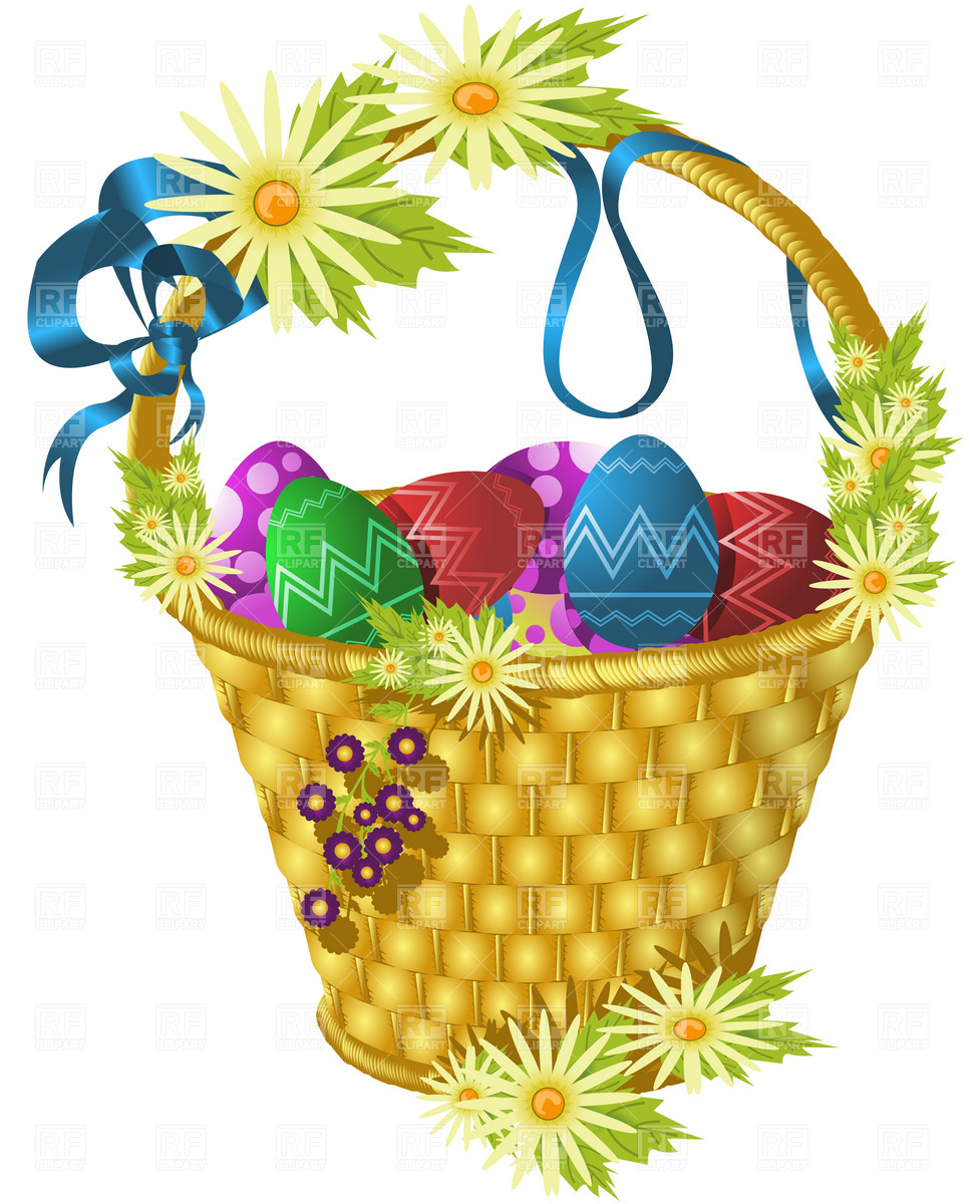 977x1200 Easter Basket With Eggs And Flowers Royalty Free Vector Clip Art