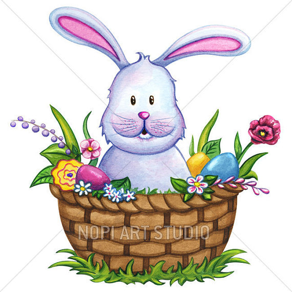 570x570 Easter Bunny Clip Art Easter Basket With Colorful Eggs
