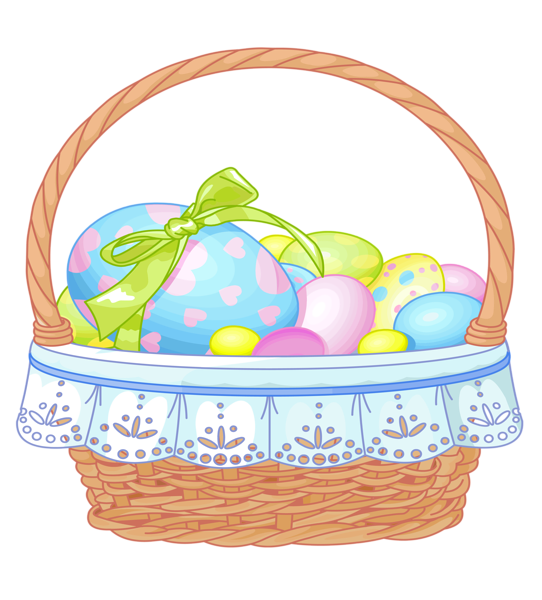 542x600 Images Of Easter Decoration Png Clipart Easter Basket With Eggs