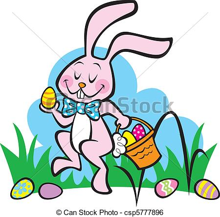 450x444 Here Comes The Easter Bunny! Illustration Of The Easter Clip