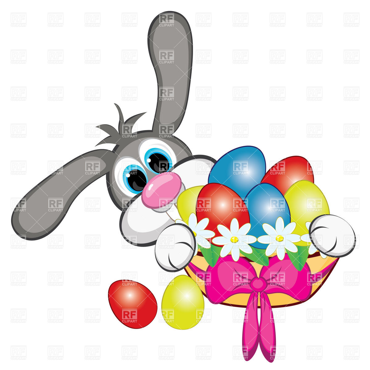 1200x1200 Bunny With Easter Eggs And Basket Royalty Free Vector Clip Art