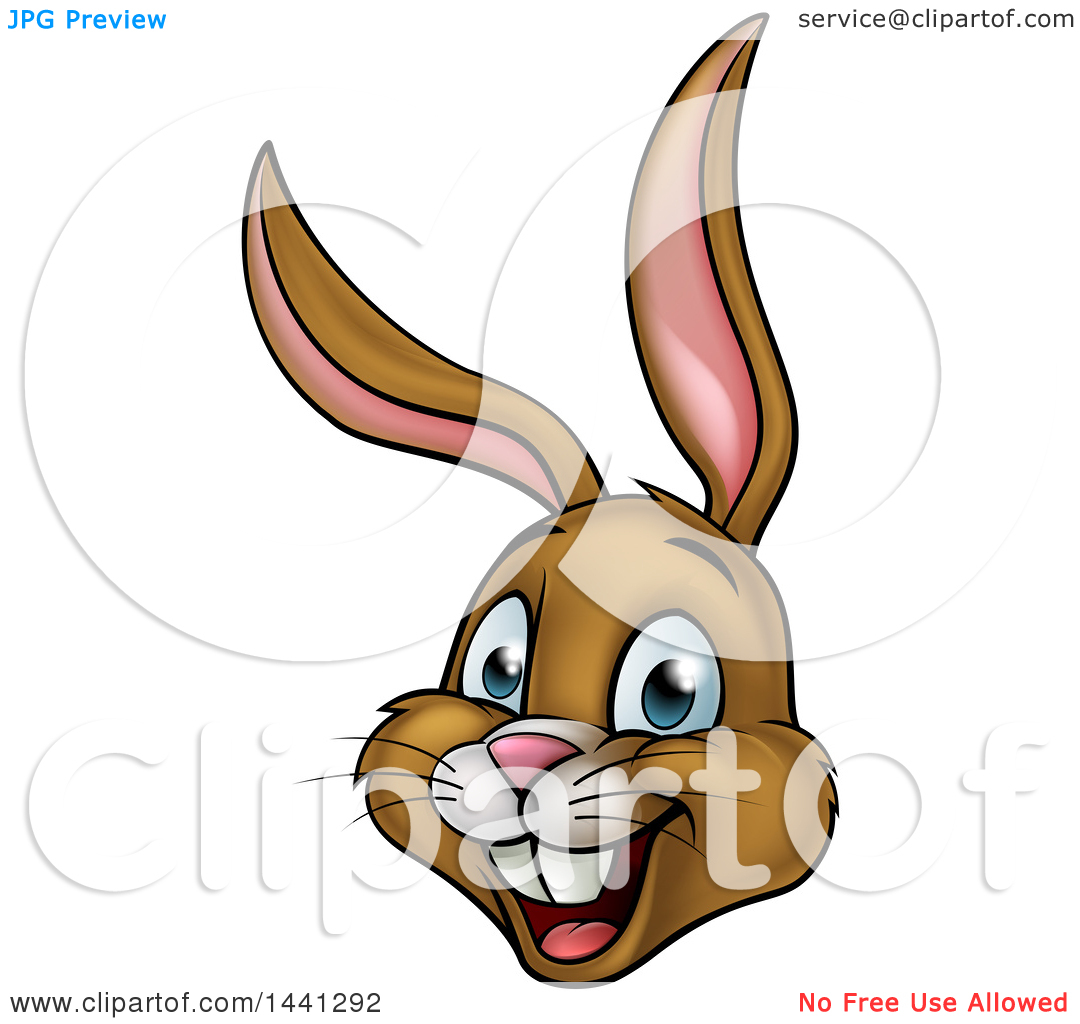 1080x1024 Clipart Of A Cartoon Happy Brown Easter Bunny Rabbit Face