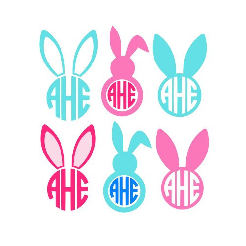 500x500 Monogram Easter Feet And Face Clipart