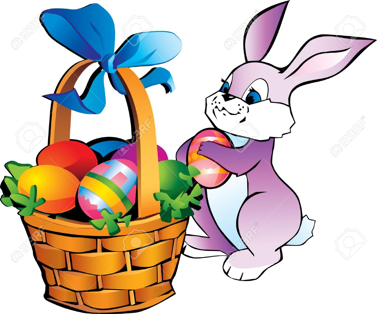 1300x1082 Easter Bunny With Basket Clip Art