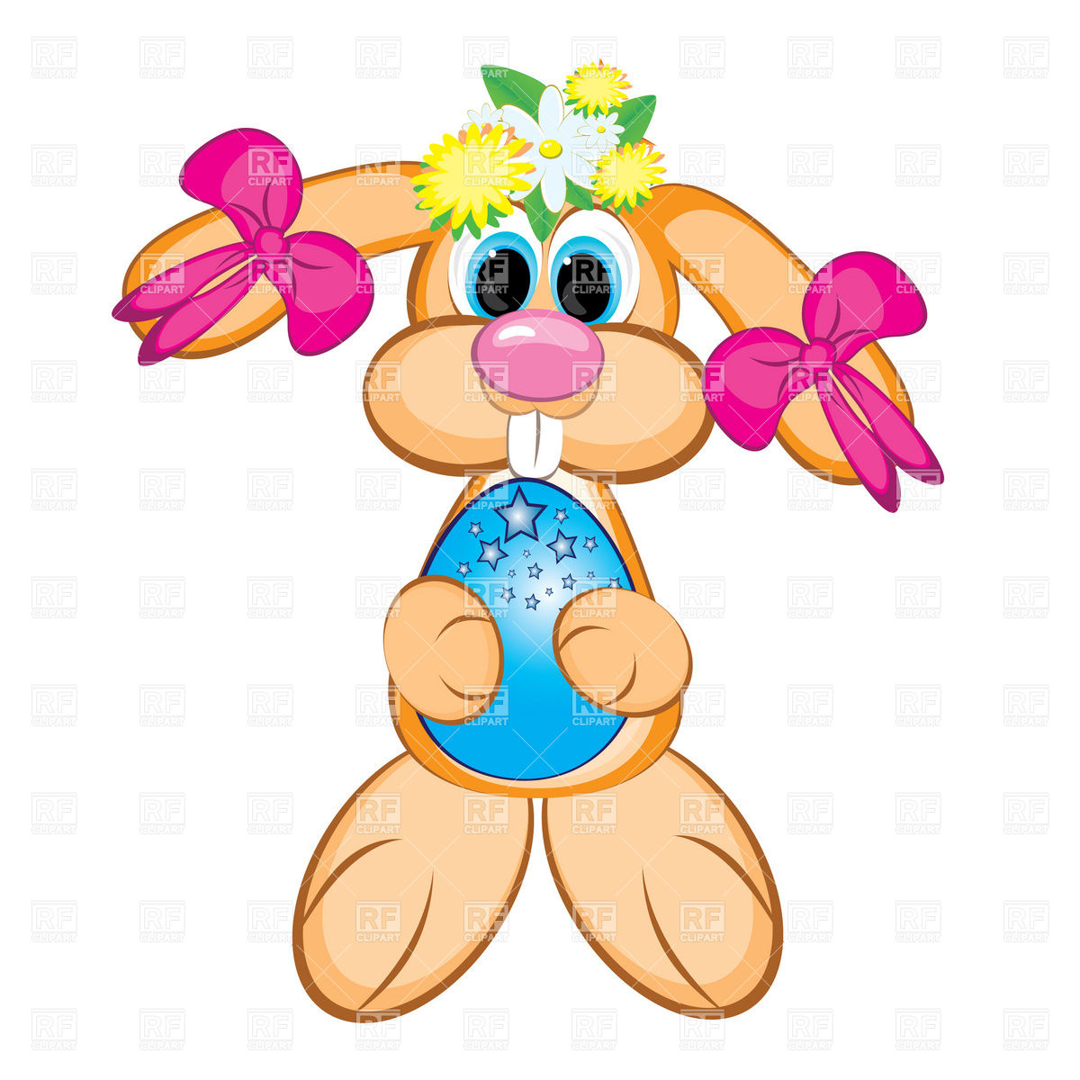 1200x1200 Easter Bunny Girl With Festive Egg Royalty Free Vector Clip Art