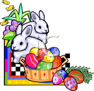 300x291 Clip Art Image Two White Easter Bunnies And A Basket Of Easter Eggs