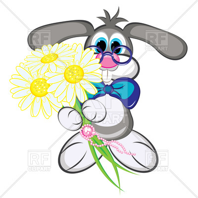400x400 Cute Clever Bunny With Bouquet Of Flowers Royalty Free Vector Clip
