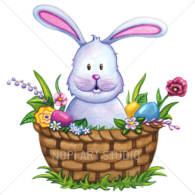 650x650 Easter Bunny Clip Art Easter Basket With Colorful Eggs