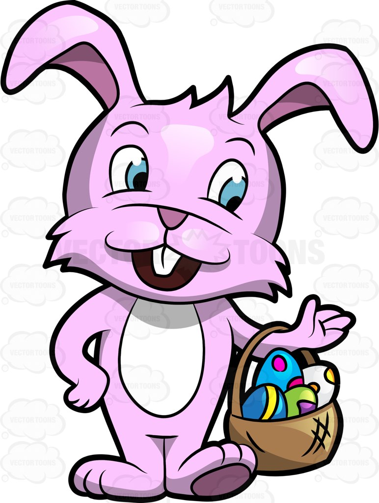 772x1024 A Cute Easter Bunny Carrying A Basket Of Easter Eggs Cartoon