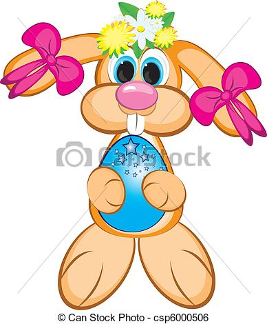 388x470 Easter Bunny Girl With Colored Egg. Easter Card On White Clip Art