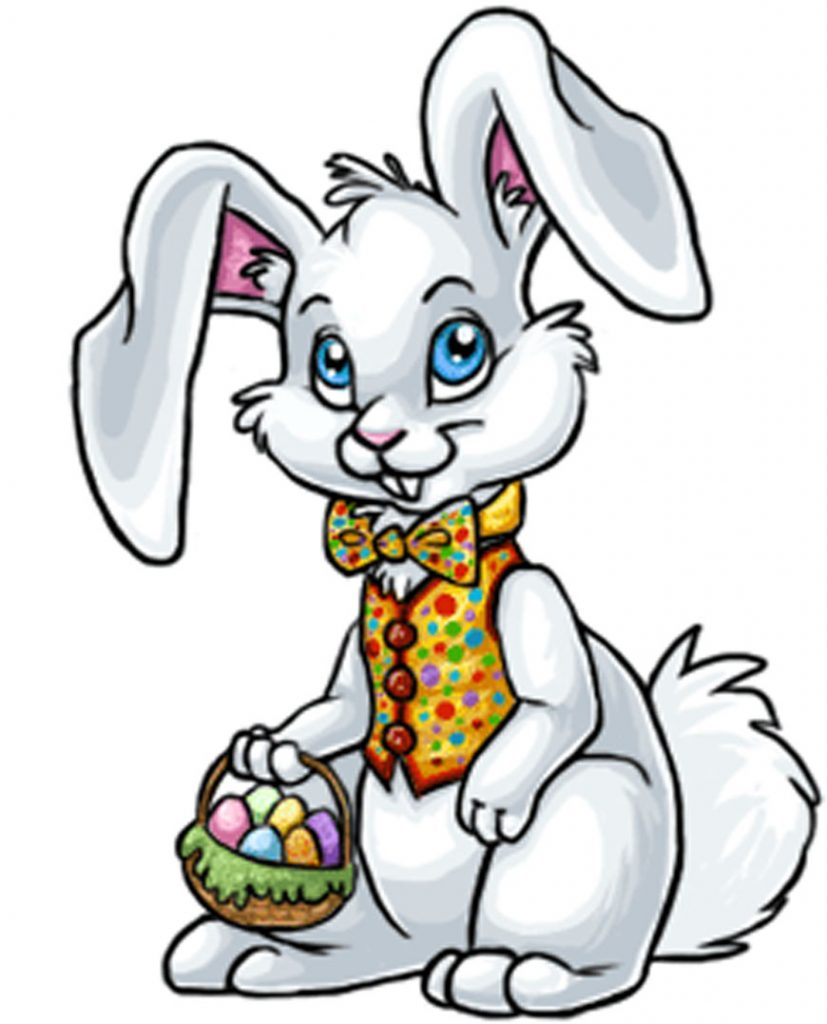 827x1024 Noted Easter Bunny Cartoon Pictures Jumping With Egg Basket Vector