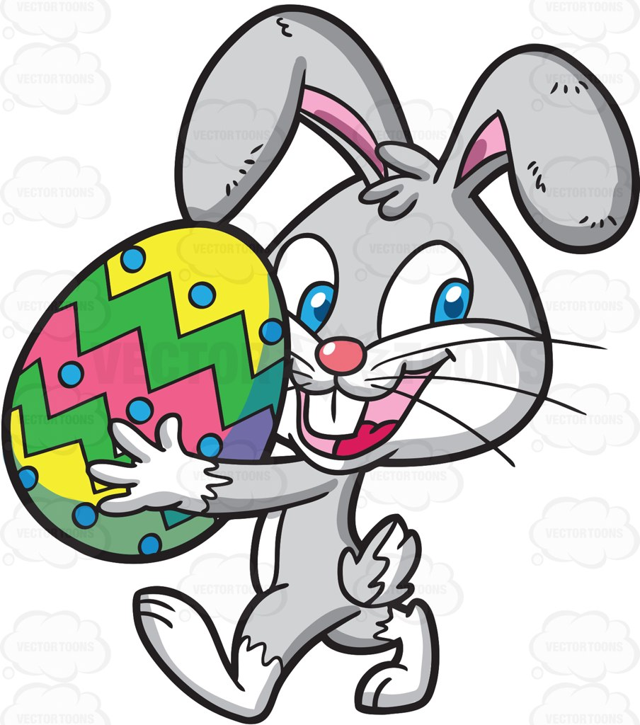 904x1024 An Easter Bunny Carrying A Colorful Egg Cartoon Clipart Vector Toons