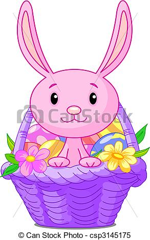 293x470 Beautiful Easter Basket With Bunny And Eggs Clipart Vector