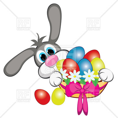 400x400 Bunny With Easter Eggs And Basket Royalty Free Vector Clip Art