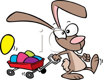 350x273 Cartoon Of The Easter Bunny Pulling A Wagon Full Of Easter Eggs
