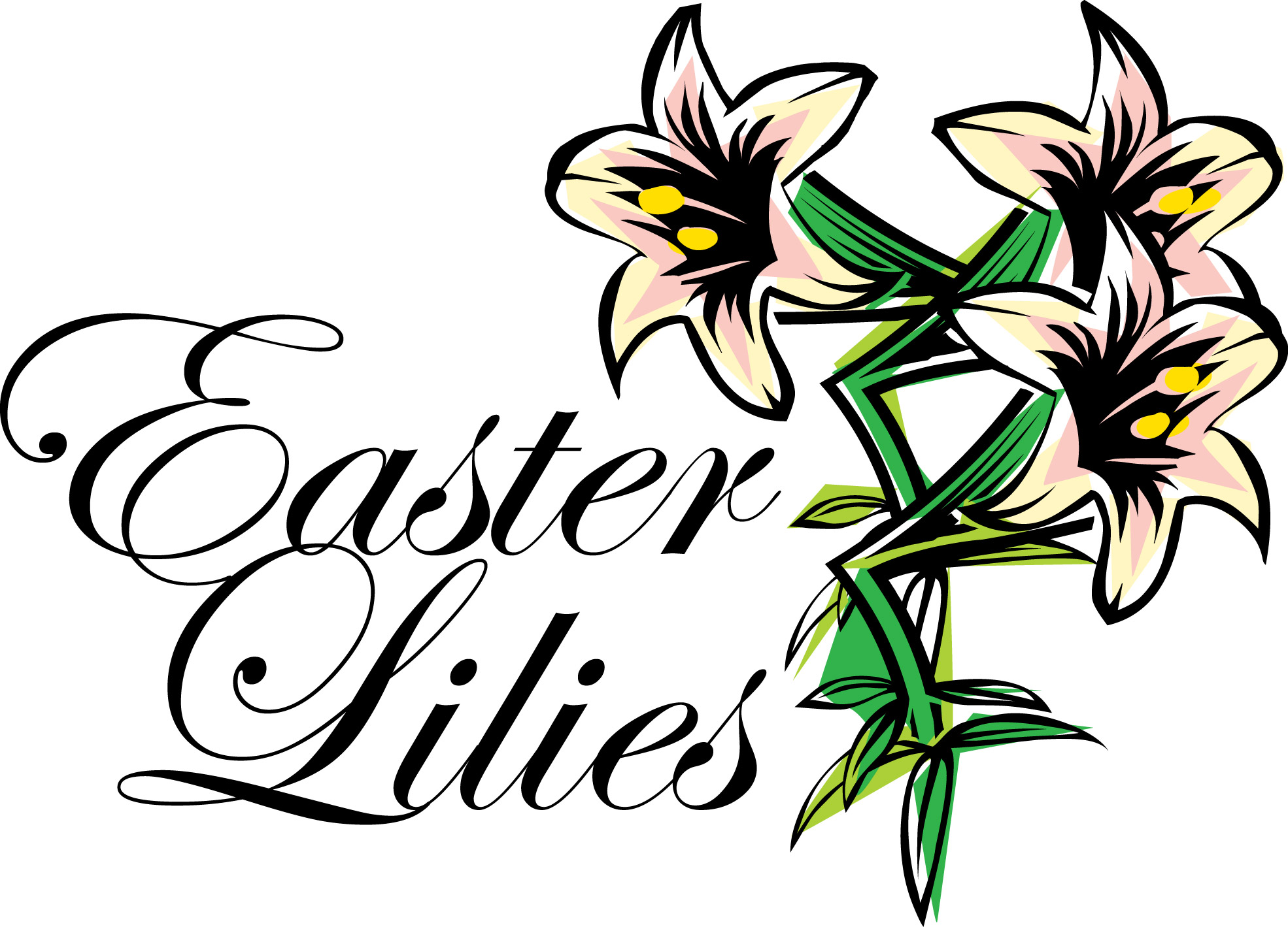 1970x1419 Easter Lily Clip Art Black And White. Easter Cross Clipart Black