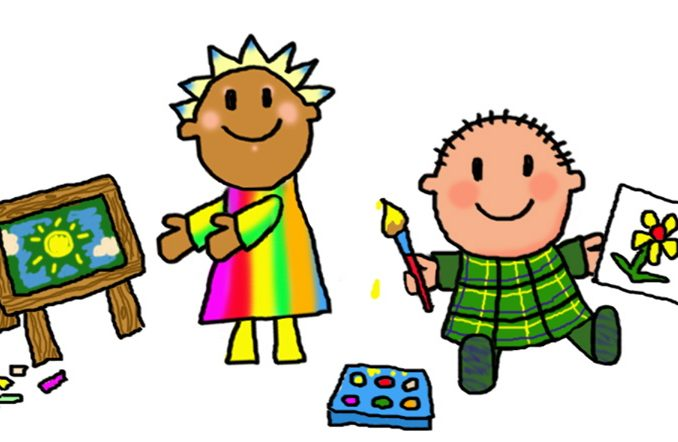 678x442 Children Painting Clipart Kids Painting Easter Eggs Clip Art Kids