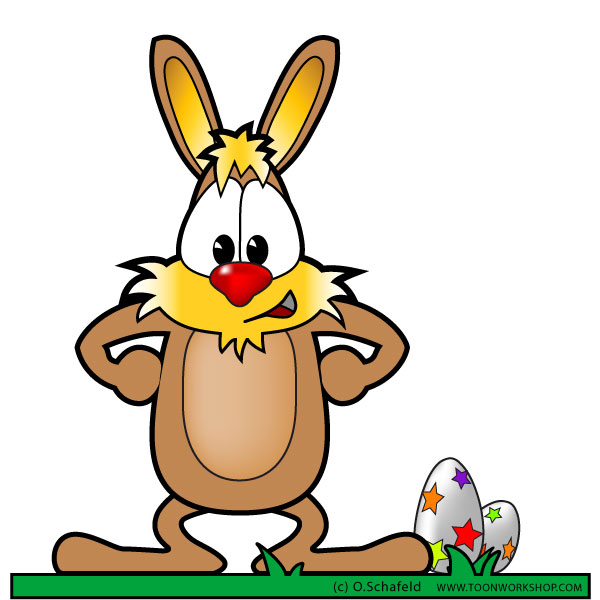 600x600 Free Easter Bunny Clipart, Cartoon Style