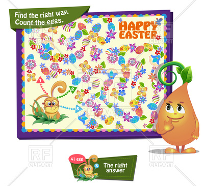 400x366 Game For Children. Count The Easter Eggs Royalty Free Vector Clip