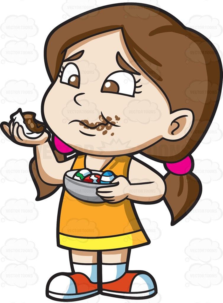 754x1024 A Girl Messily Eats Some Easter Egg Chocolates Cartoon Clipart