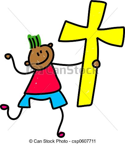 408x470 Cross Kid. Happy Little Ethnic Boy Holding An Easter Cross Symbol